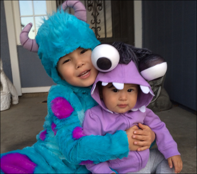 Aaron as Sully and Alexandra as Boo from Monsters Inc.  sc 1 st  Angry Asian Man & Your Halloween Costumes Part Three