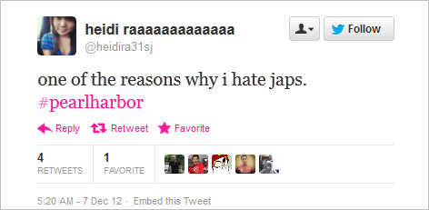 "Did You Know Pearl Harbor Happened >> On the anniversary of the attack on Pearl Harbor, Twitter remembers ""the damn japs"""